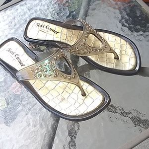 RED CAMEL CLEAR WITH GOLD JELLY SANDALS